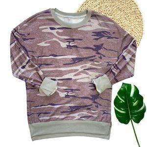 Green Camo Print Pullover Crewneck Sweatshirt Sz S